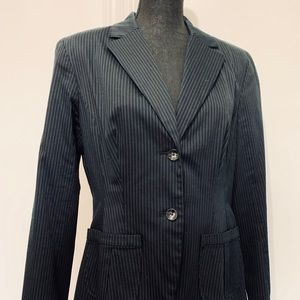 Career jacket navy pinstriped stretch material